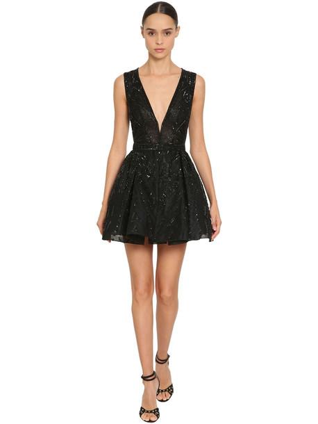 ZUHAIR MURAD Embellished Tulle Mini Dress in black