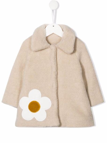 Piccola Ludo flower detail faux-fur coat - Neutrals