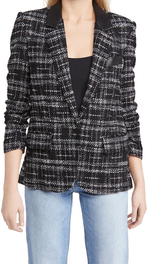 Generation Love Jameson Tweed Combo Blazer in black / silver / white