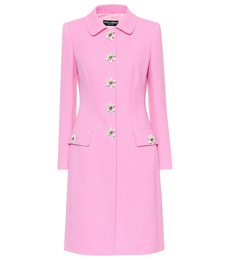 Dolce & Gabbana Embellished wool coat in pink