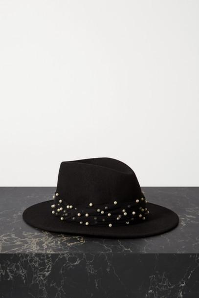Eugenia Kim - Blaine Faux Pearl-embellished Tulle-trimmed Wool-felt Fedora - Black