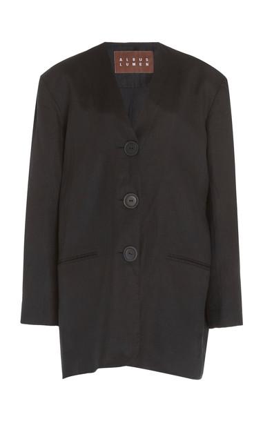 ALBUS LUMEN Agaso Oversized Linen Blazer in black