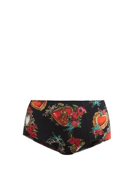 Dolce & Gabbana - Heart And Rose Print Mid Rise Bikini Briefs - Womens - Black Multi