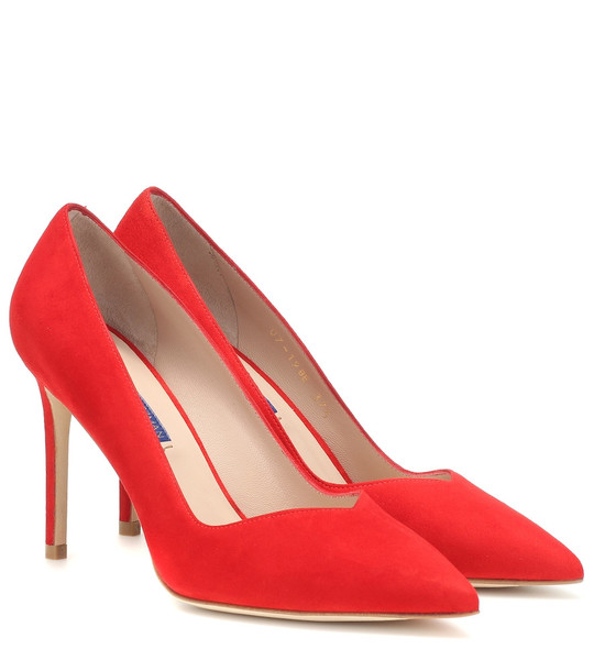 Stuart Weitzman Anny suede pumps in red