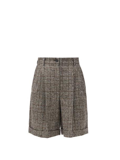 Dolce & Gabbana - Pleated High-rise Wool-blend Tweed Shorts - Womens - Grey Multi