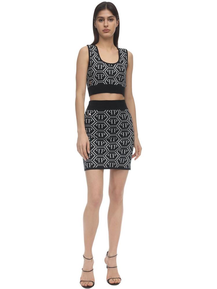 PHILIPP PLEIN Pp Logo Lurex Intarsia Knit Top & Skirt in black / silver
