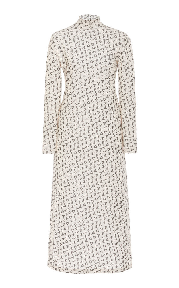 Rokh Mask Printed High-Neck Crepe Maxi Dress in print