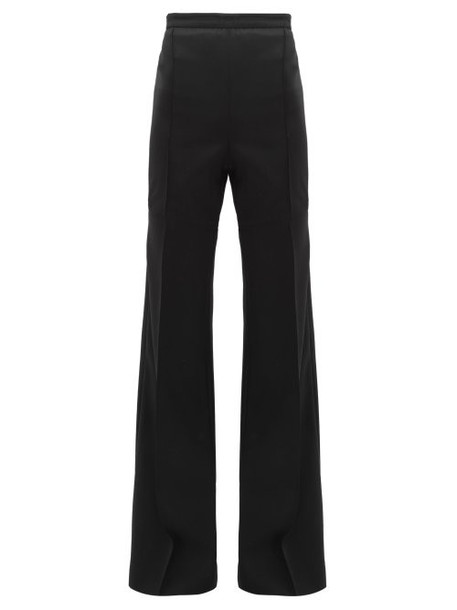 Andrew Gn - High Rise Wide Leg Wool Trousers - Womens - Black