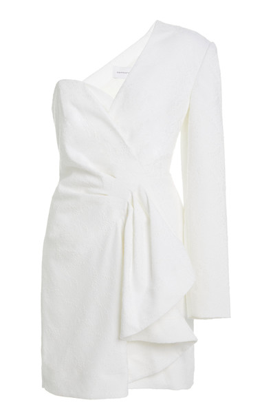 Significant Other Starmist One-Shoulder Crepe Dress in white
