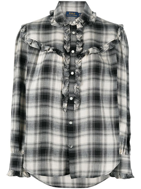 Polo Ralph Lauren ruffle-trimmed plaid shirt in black