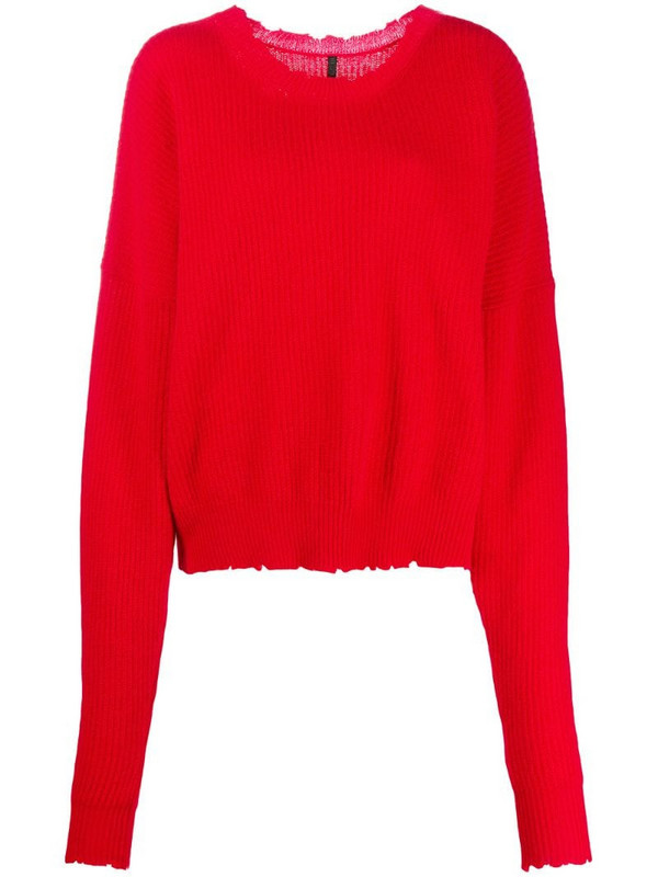 UNRAVEL PROJECT distressed-edge ribbed jumper in red