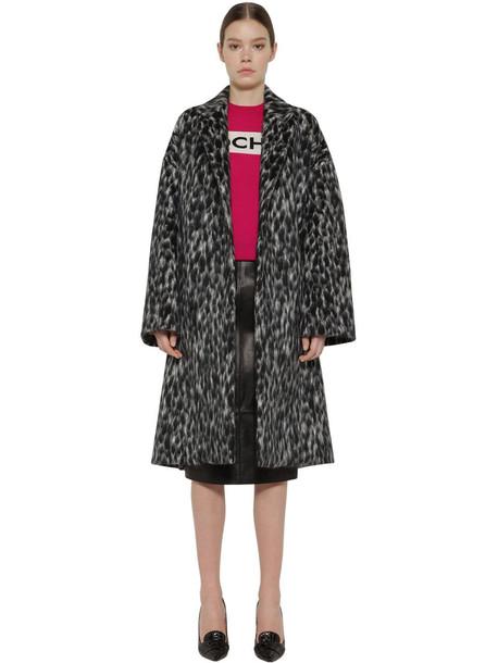 ROCHAS Belted Wool Blend Coat in leopard