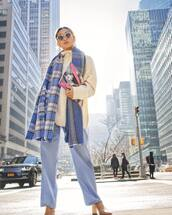 scarf,plaid,acne studios,ankle boots,blue pants,white sweater