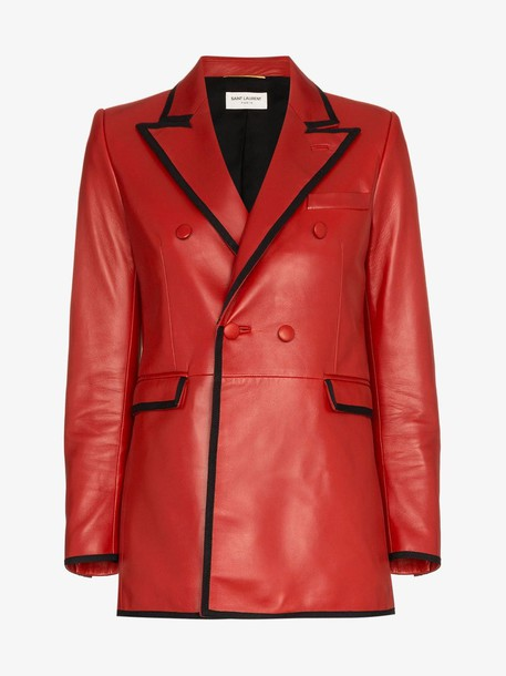 Saint Laurent double breasted blazer in red
