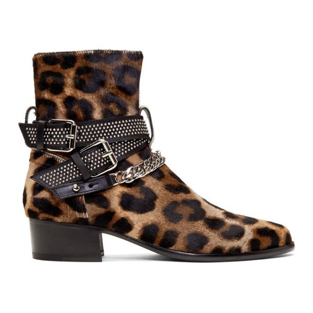Amiri Brown & Black Leopard Calf-Hair Moto Chain Boots