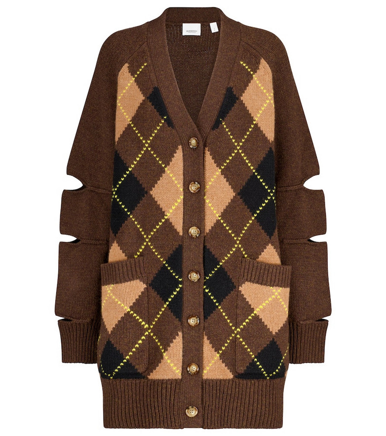 Burberry Argyle wool and cashmere cardigan in brown