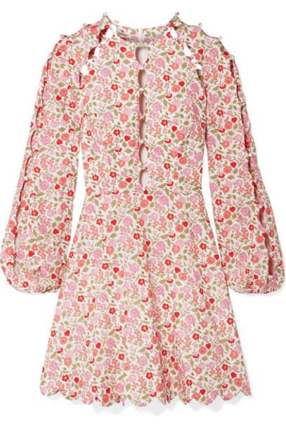 Zimmermann - Goldie Cutout Floral-print Linen And Cotton-blend Mini Dress - Antique rose
