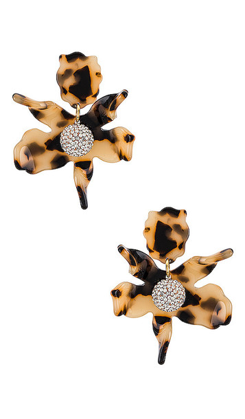 Lele Sadoughi Small Crystal Lily Earrings in Brown