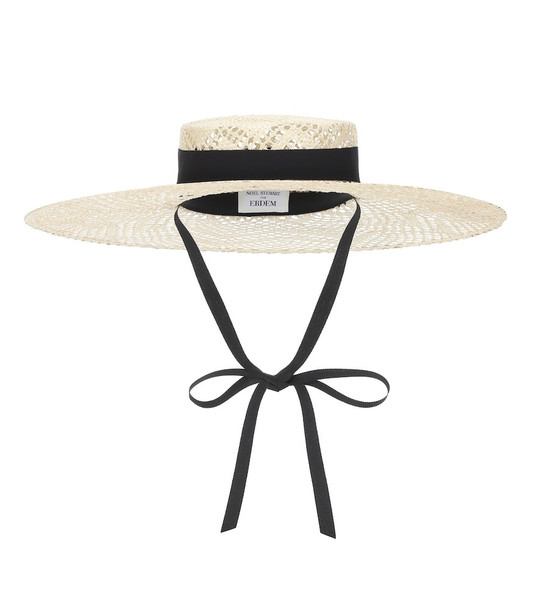 Erdem x Noel Stewart straw hat in white