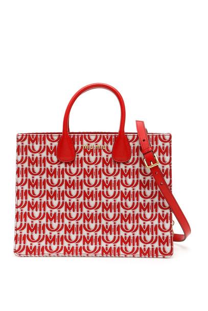 Miu Miu Jacquard Logo Tote Bag in red
