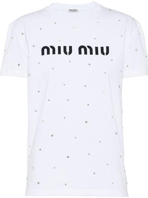 Miu Miu logo rhinestone T-shirt in white