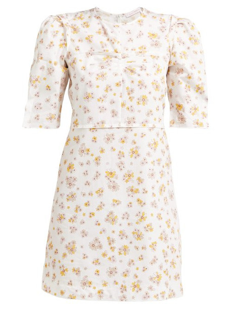 See By Chloé See By Chloé - Puffed Sleeve Floral Print Cotton Mini Dress - Womens - Ivory Multi