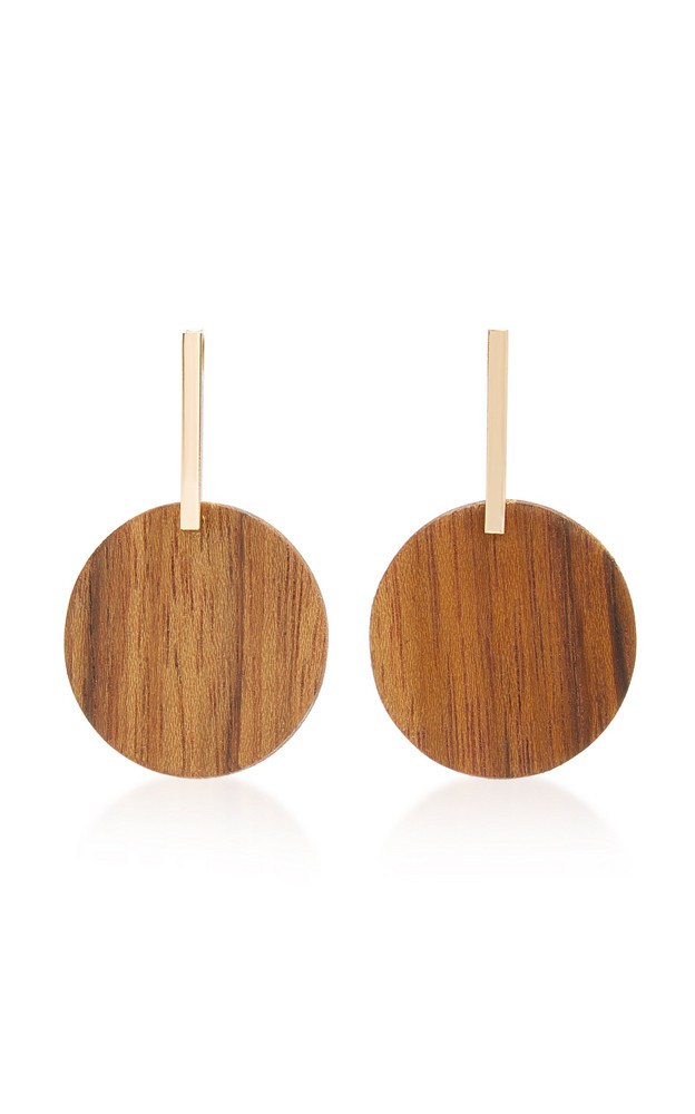 Sophie Monet The Prose Gold-Plated Shedua Wood Earrings in brown