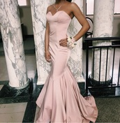 dress,light pink,mermaid prom dress