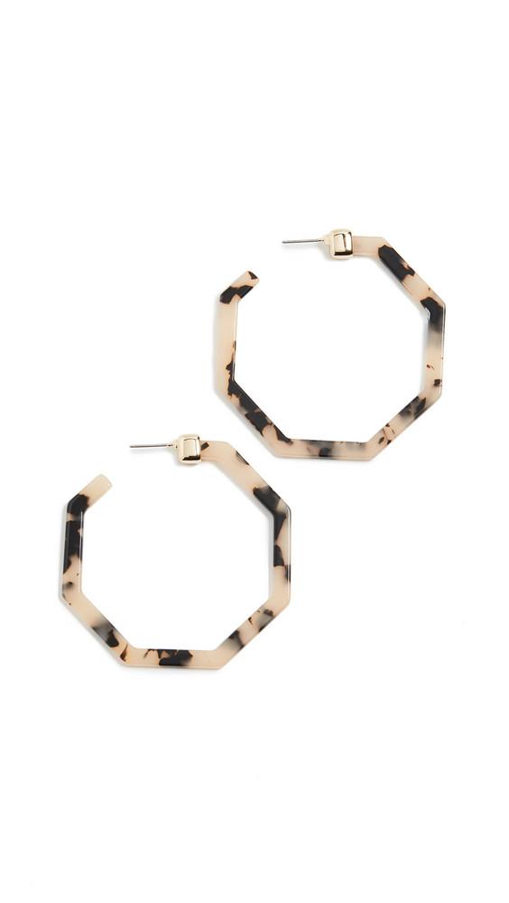 BaubleBar Devri Resin Hoop Earrings in brown / gold