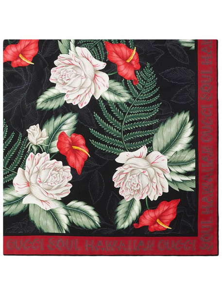 Gucci floral print scarf in black
