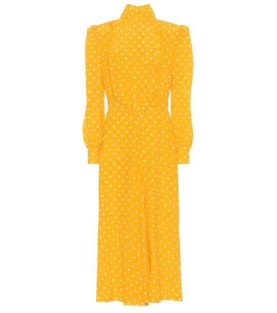 Alessandra Rich Polka-dot silk turtleneck dress in yellow
