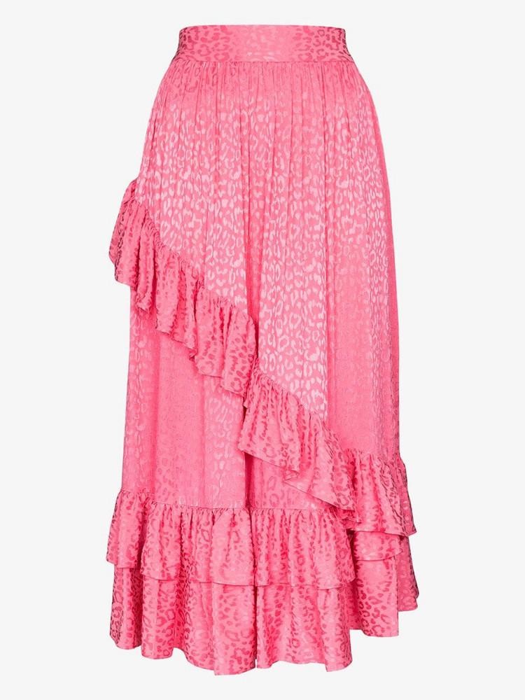 Batsheva diagonal ruffle midi skirt in pink