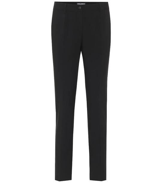 Dolce & Gabbana Mid-rise wool-crêpe pants in black