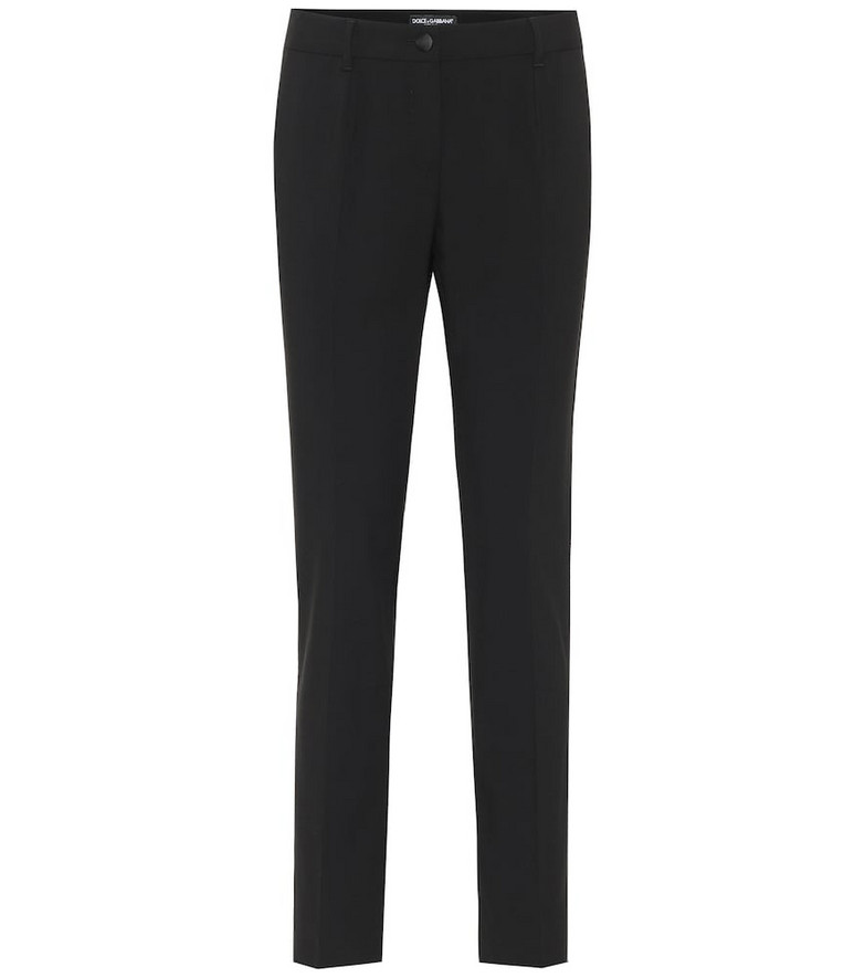 Dolce & Gabbana Mid-rise wool-crêpe pants in black
