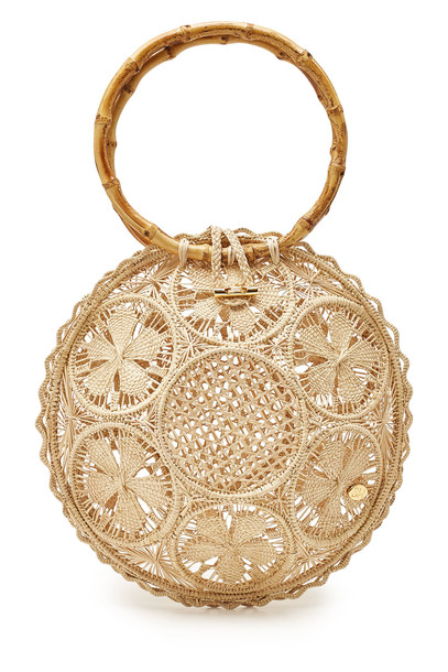 Soraya Hennessy The Ana Handwoven Handbag with Bamboo  in beige