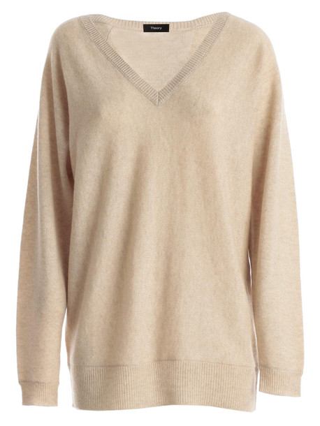 Theory Sweater L/s V Neck in natural
