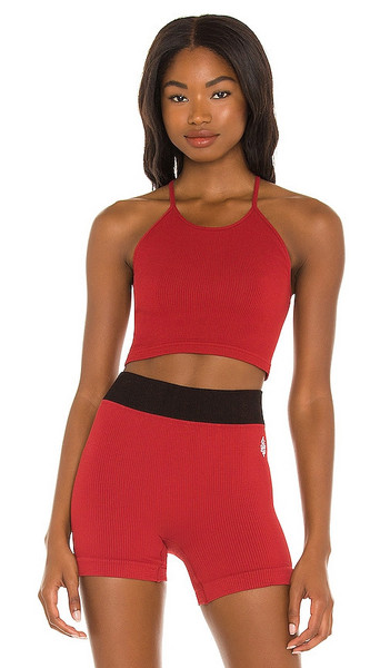 Free People X FP Movement Cropped Run Tank in Burgundy in red