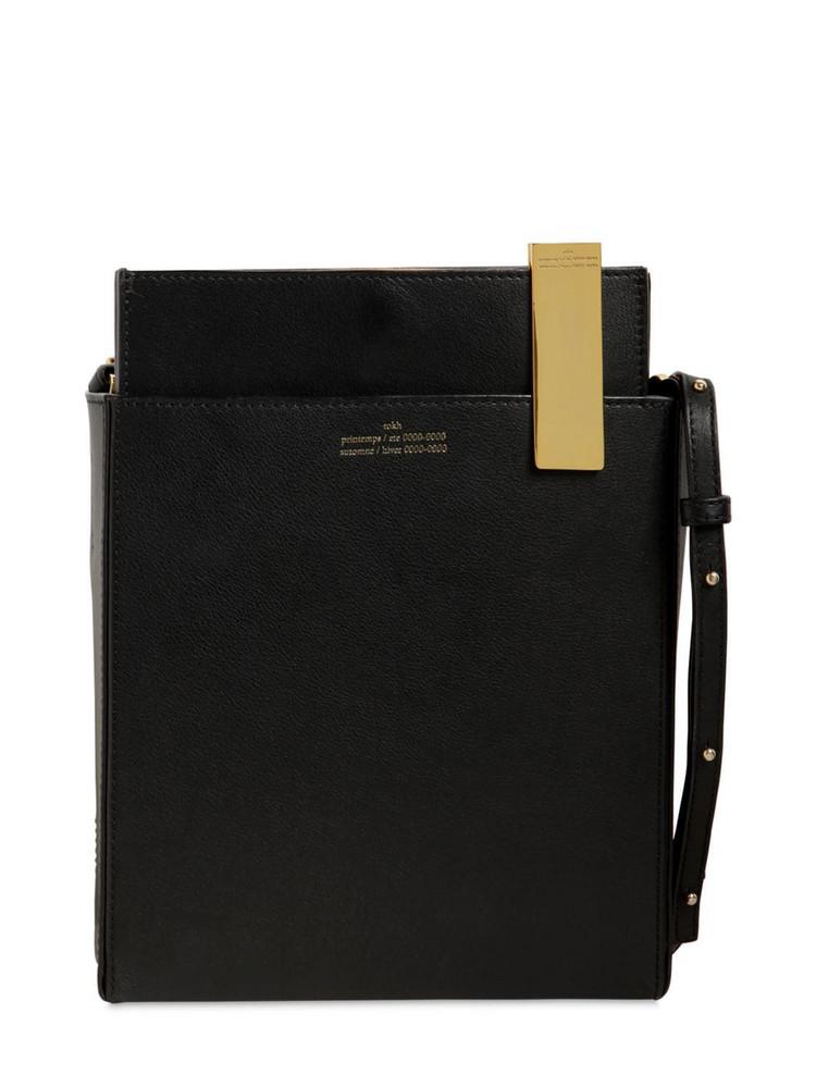 ROKH File Leather Shoulder Bag in black