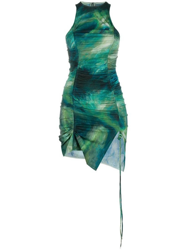 The Attico printed ruched mini dress in green