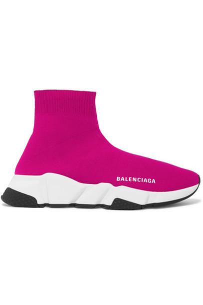 Balenciaga - Speed Stretch-knit High-top Sneakers - Fuchsia