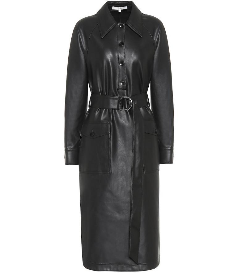 Tibi Faux-leather midi dress in black