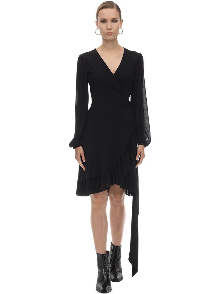 GANNI Dotted Mesh Wrap Dress in black / beige