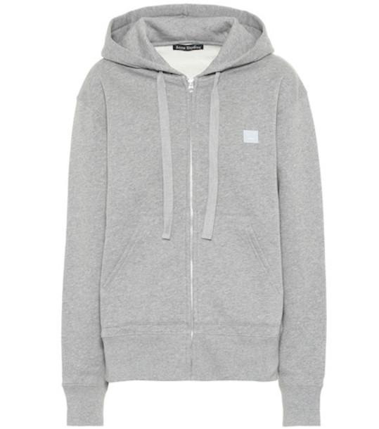 Acne Studios Ferris Zip Face cotton hoodie in grey