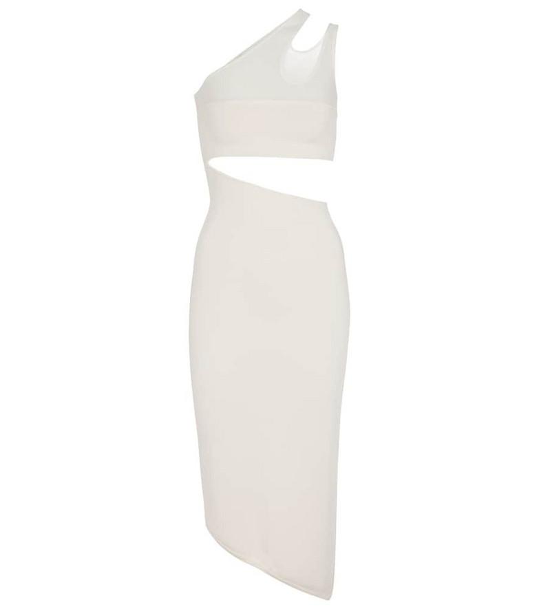 Mugler Cutout stretch midi dress in white