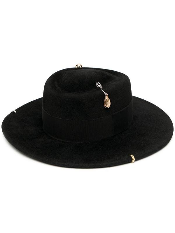 Ruslan Baginskiy chain strap felt canotier hat in black