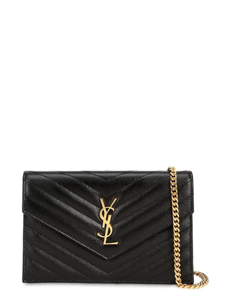 SAINT LAURENT Small Monogram Quilted Leather Bag in noir