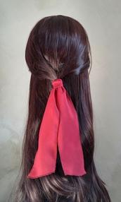 scarf,ponytail scarf,bun scarf,hair scarf,maroon ponytail scarf