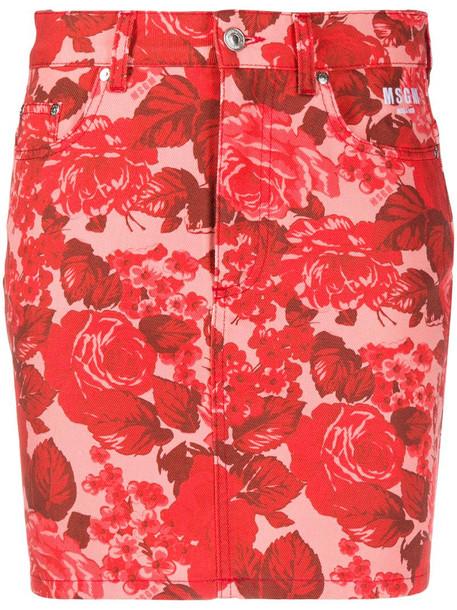 MSGM rose-print denim skirt in pink