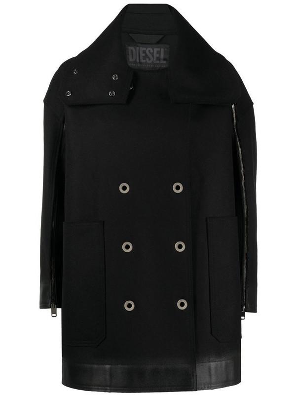 Diesel zipped-sleeve cape coat in black
