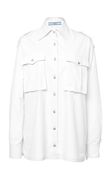 Prada Button-Detailed Cotton Shirt Size: 36